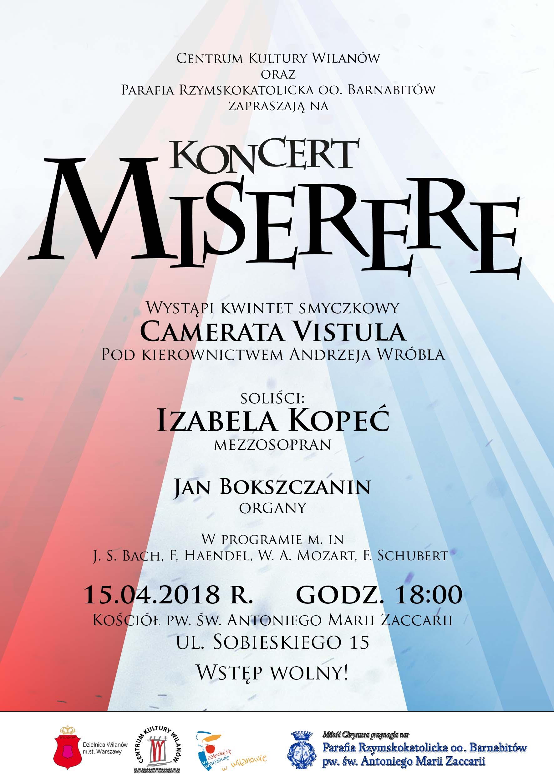 """Koncert Wielkanocny """" Miserere"""" – Kościół Barnabitów – Warszawa"""