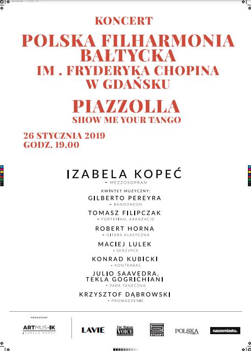 "Koncert – ""Piazzolla. Show me your tango"" – Filharmonia Bałtycka"