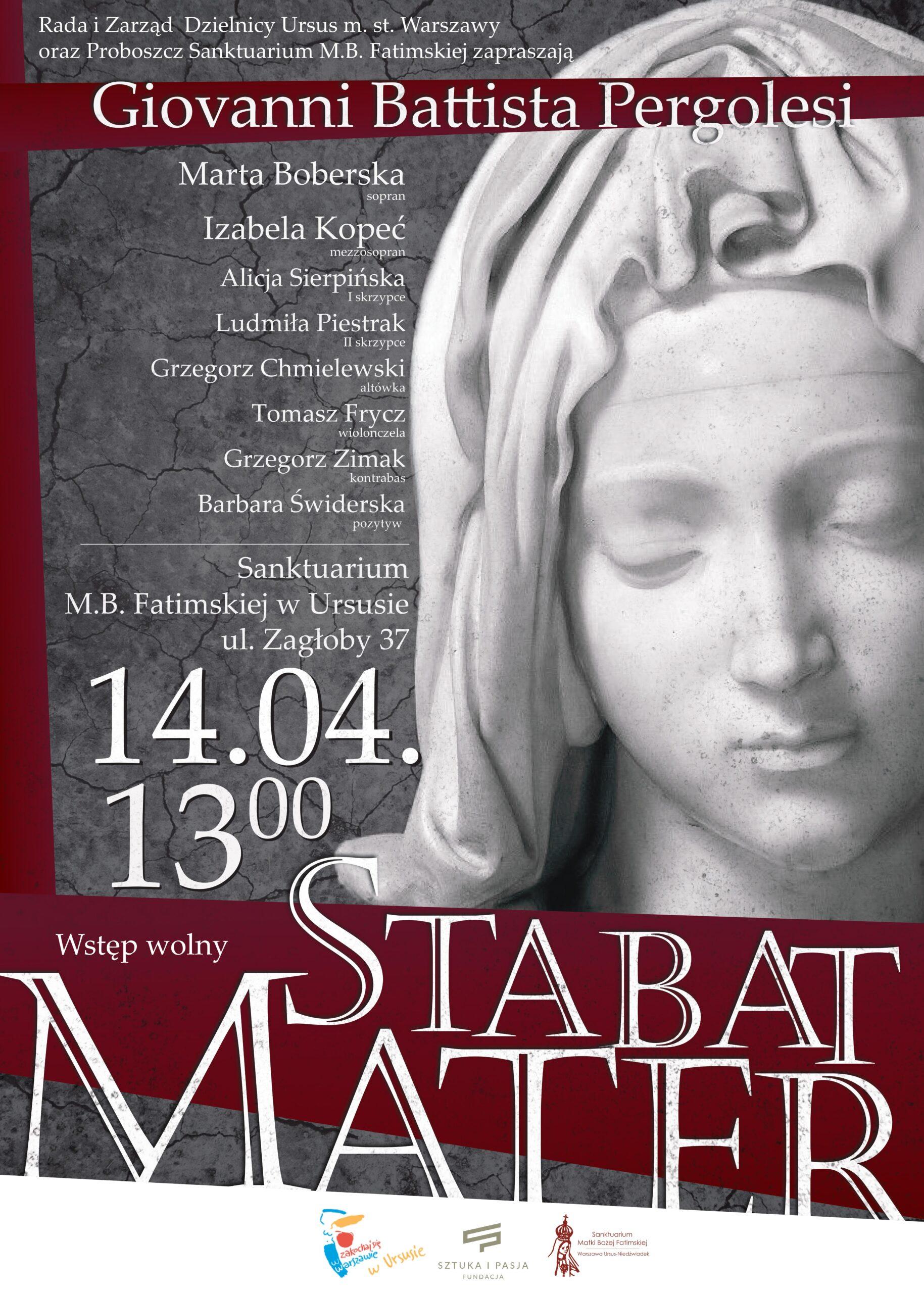 "Koncert Pasyjny ""Stabat Mater"" – Sanktuarium Matki Boskiej Fatimskiej Warszawa – Ursus"